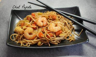 Nouilles chinoises aux crevettes et petits légumes