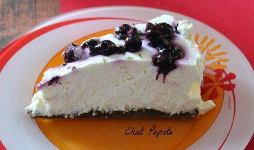 Cheesecake citron vert et myrtilles (sans cuisson)
