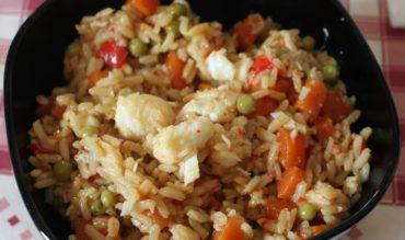 Wok de cabillaud aux légumes et riz complet (cookeo)