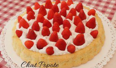 Biscuit léger, chantilly vanille et fraises