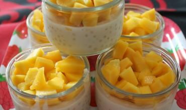 Perles du Japon au lait de coco et dés de mangue fraiche