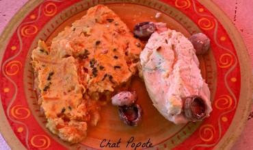 Blancs de poulet au fromage frais et clafoutis de légumes