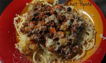 Spaghettis sauce bolognaise aux petits légumes