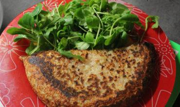 Galette de pomme de terre, jambon et cancoillotte