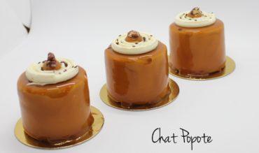 Entremets chocolat, caramel, vanille et pécan (version individuelle)