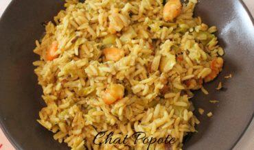 One pot riz complet, poireau et crevettes (cookeo)